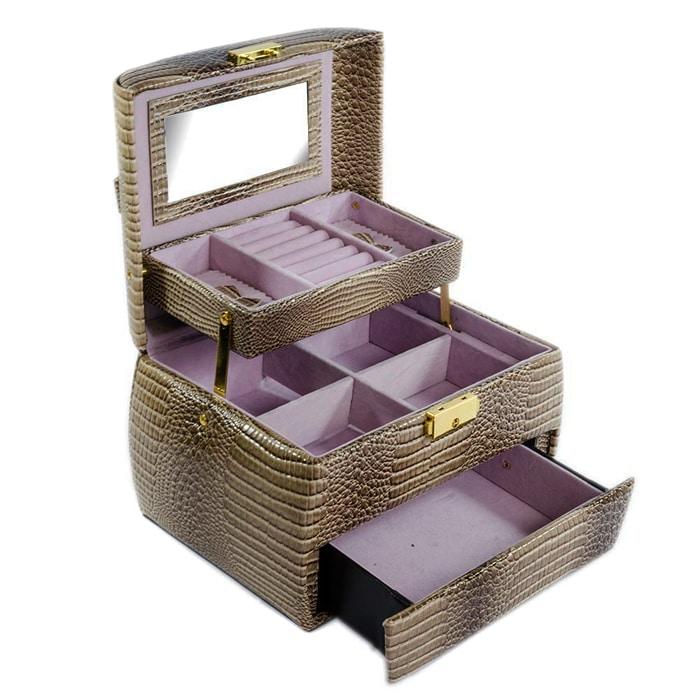 Cutie bijuterii maron deschis 3 nivele, inchizatoare metalica aurie si maner.