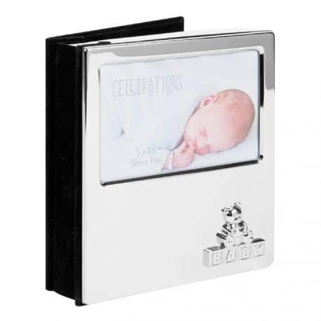 Album foto argintat pentru bebelusi cu ursulet cadou pentru botez