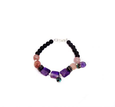 Bratara pentru femei decorata cu cristale de ametist, cuart cherry si turcoaz african si charoit
