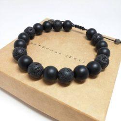 Bratara pentru barbati din piatra de lava si onix negru