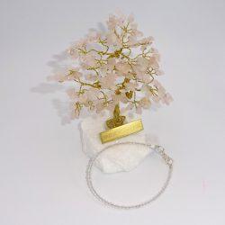 Bratara si pomisor bonsai cu pietricele de cuart roz