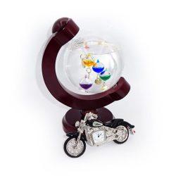 Motocicleta miniatura ceas de birou si glob termometru Galileo Galilei