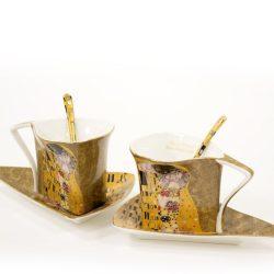 Cesti de cafea triunghiulare Klimt, portelan fin