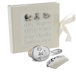 Album perie pieptan argintat, cadou bebe nou-nascut