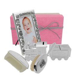 Rama argintata in pachet cu perie, pieptan si tren pusculita si cutiute pentru mot si primul dintisor