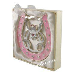 Potcoava roz cu ursulet cadou pentru fetita