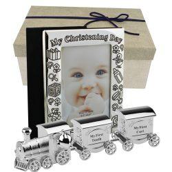 Set album foto de botez si tren argintat cutiute pentru mot si primul dintisor, Cadouri de botez pentru baiat