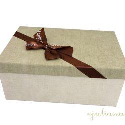 Cutie de cadou cu capac decorat cu fundita maro