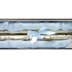 Suport pentru certificat de nastere argintat pentru baiat
