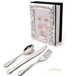 Album foto de botez si trei tacamuri argintate pentru bebelusi