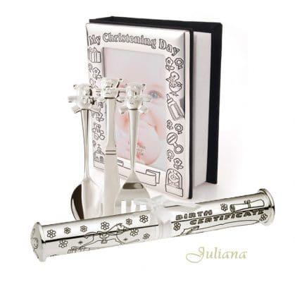 Album suport si tacamuri argintate pentru botez