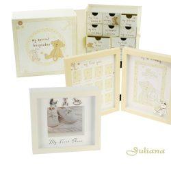 Caseta pentru primii botosei, cutie cu sertare si rama foto primul an, Cadouri de botez si prima aniversare