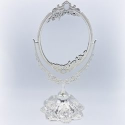 Oglinda dubla argintata cu picior pentru masa