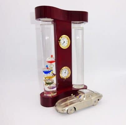 Termometru Galileo Galilei si Sticla Furtunii set de birou cu masina ceas