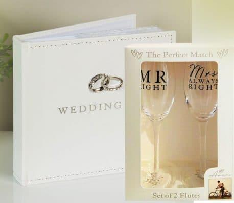 Album foto si pahare de sampanie Mr&Mrs
