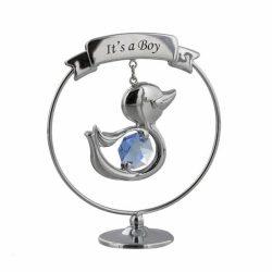 Ratusca cu cristal Swarovski, cadou pentru nou-nascut baietel, figurina placata si decorata cu un superb cristal albastru.
