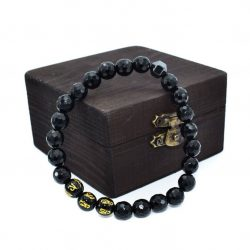 Bratara barbati onix si obsidian mantre in cutie de lemn