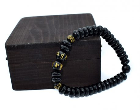Bratara pentru barbati din onix negru, mantre de obsidian