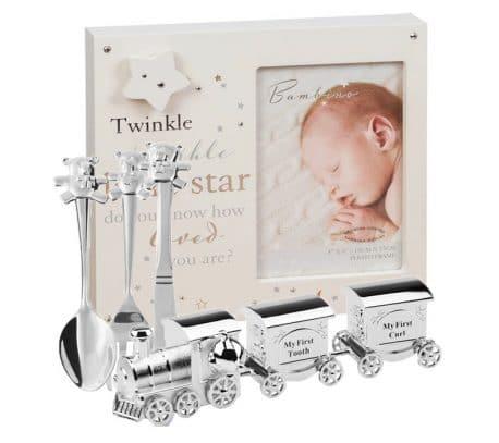 Rama muzicala 3 tacamuri tren argintat pentru baiat