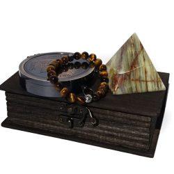 Bratara piatra de tigru, busola si piramida de onix