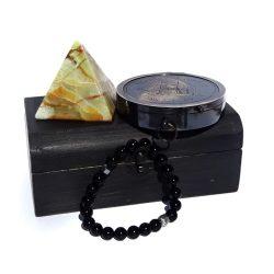 Bratara de onix si argint cu busola si piramida