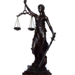 Statueta zeita Justitiei de metal antichizat
