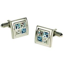 Butoni de camasa cu cristale Swarovski ''Light Sapphire''