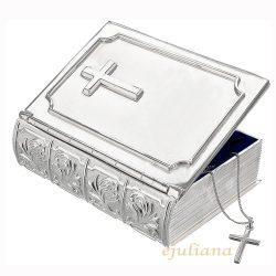 Caseta argintata cadou de botez